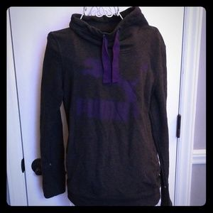 Dark grey and purple Puma sweatshirt with pouch